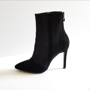 Boohoo Ankle Booties Suede Black Size 7
